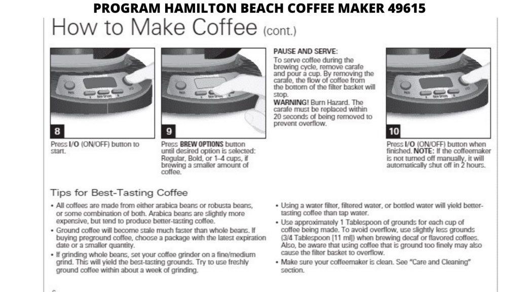 HAMILTON BEACH COFFEE MAKER 49615